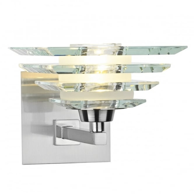 The Lighting Book STIRLING modern satin chrome & glass wall light