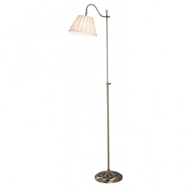 Suffolk Traditional Antique Brass Floor Lamp with Adjustable Head