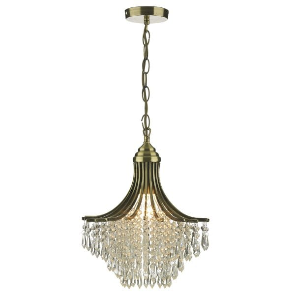 Double Insulated Crystal Wall Lights : Suri Small Antique Brass & Crystal Chandelier