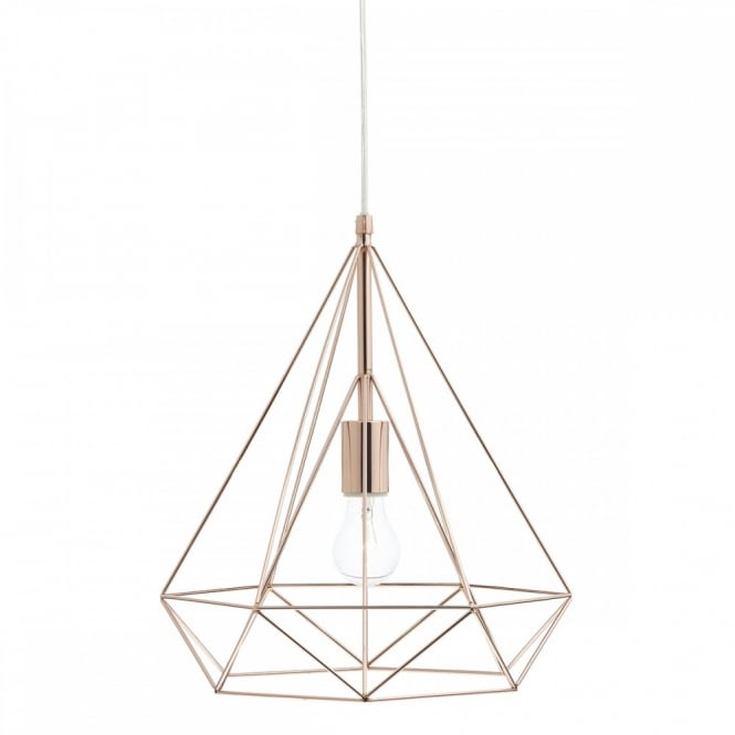 Contemporary Copper Wire Frame Ceiling Pendant