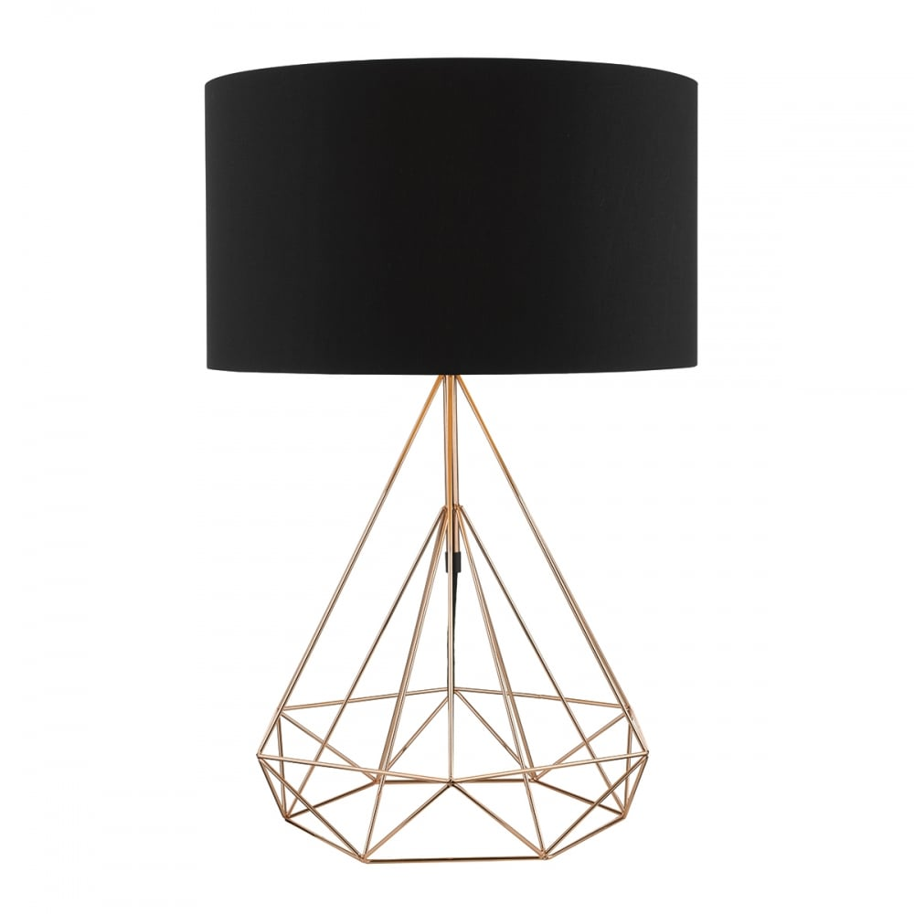 Contemporary Polished Copper Frame Table Lamp with Black Shade