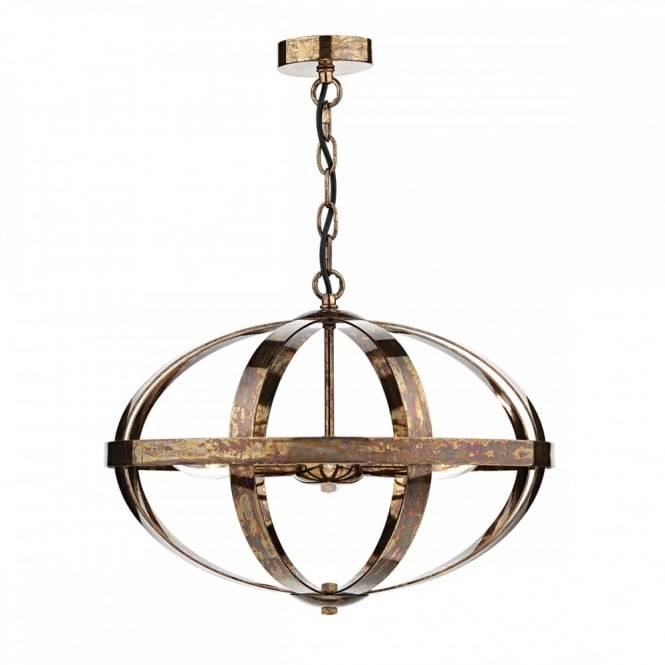 The Lighting Book SYMBOL 3 light oval globe frame pendant in a dappled copper finish