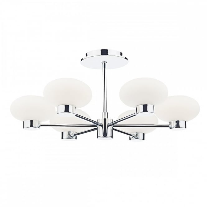 The Lighting Book SYSTEM 6 light semi flush ceiling light in chrome with opal glass shades