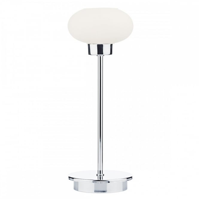 The Lighting Book SYSTEM modern polished chrome touch lamp with opal glass shade