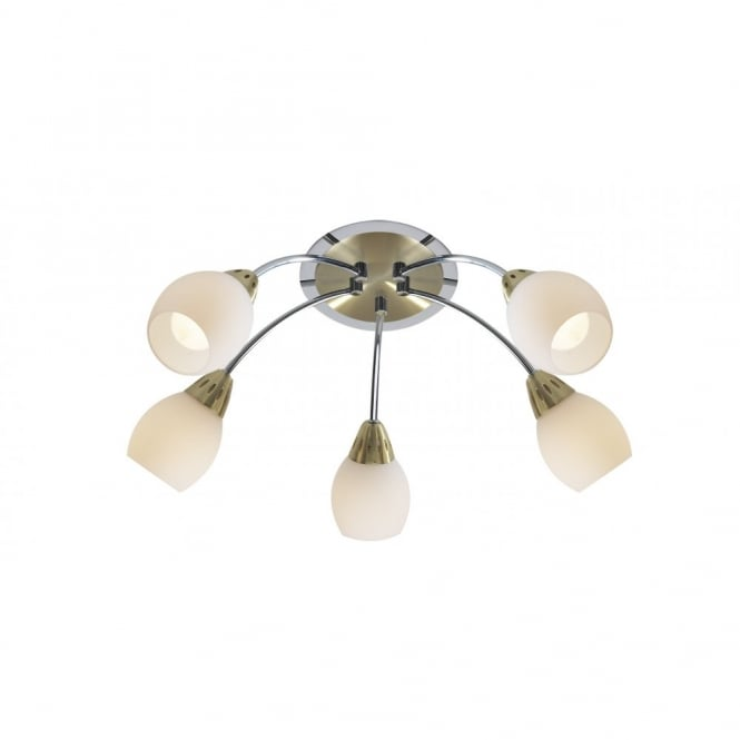 The Lighting Book TEMPO satin brass with chrome low ceiling light