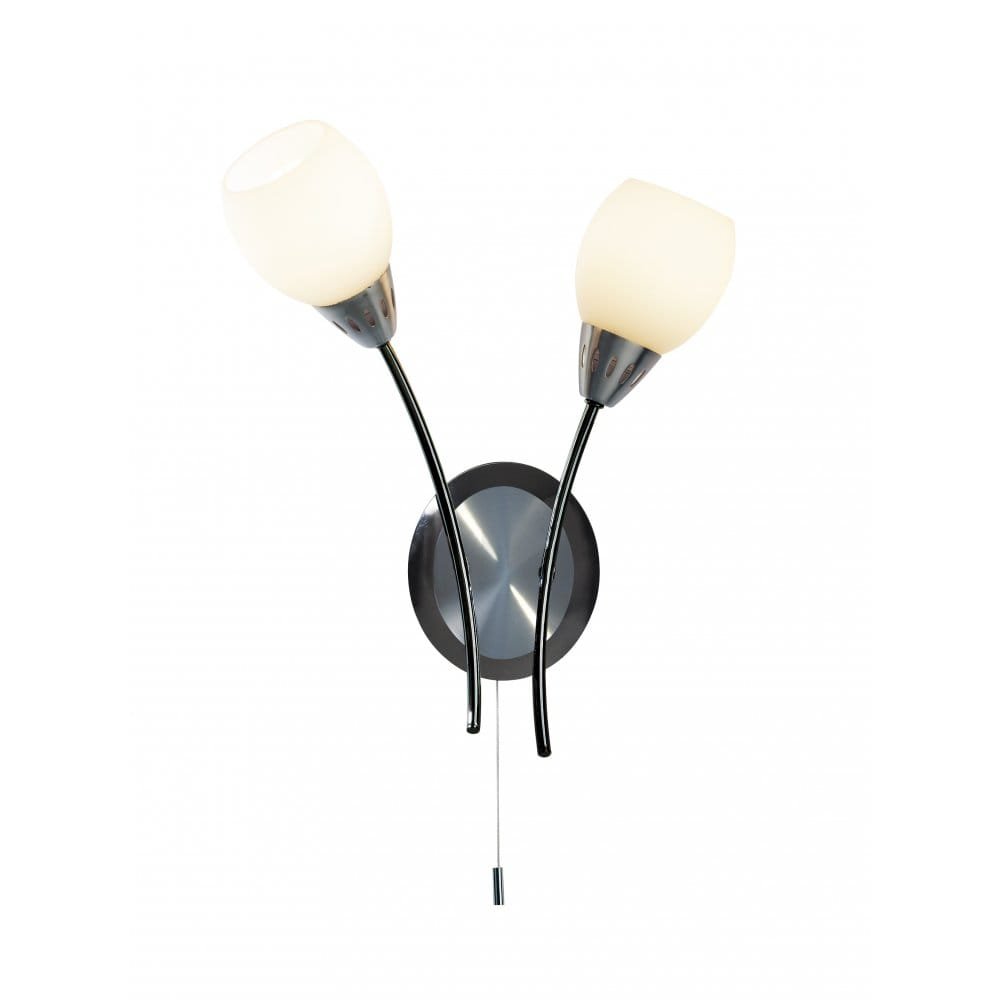 Black Chrome & Satin Chrome Modern Double Wall Light with Switch