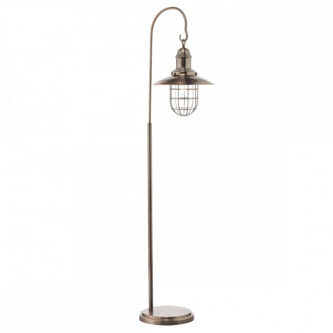 The Lighting Book TERRACE Rustic Hanging Lantern Floor Lamp In Copper Finish