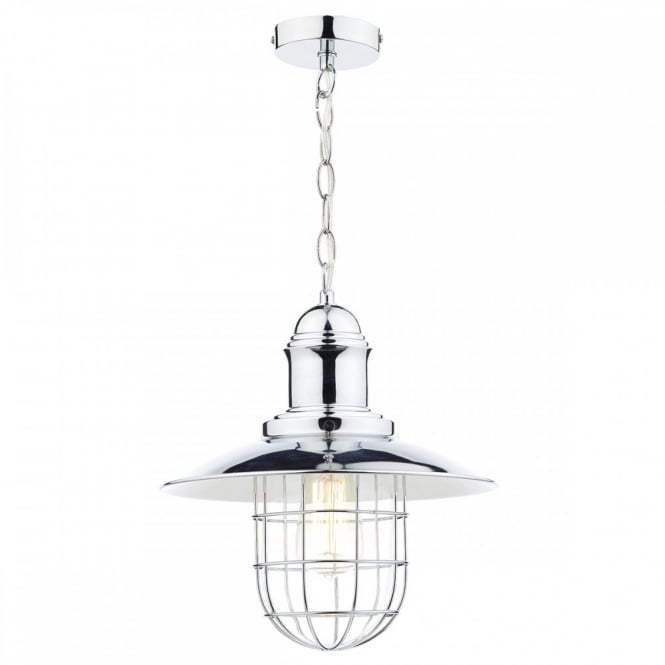 The Lighting Book TERRACE single retro ceiling pendant in polished chrome