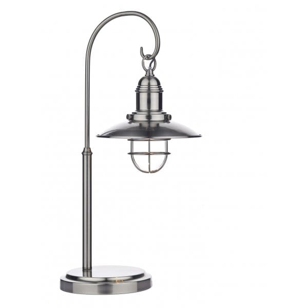 Retro Hanging Lantern Table Lamp In Antique Chrome Switched