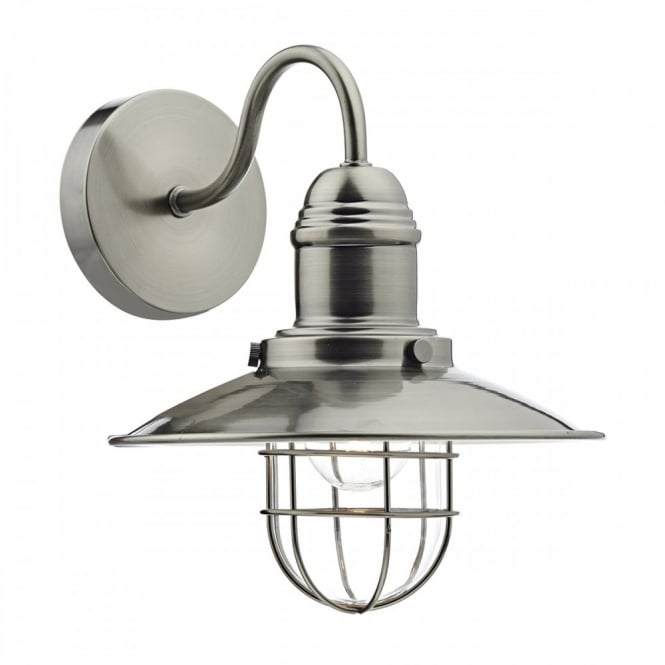 Vintage Coastal Design Fisherman Wall Light in Antique Chrome Finish