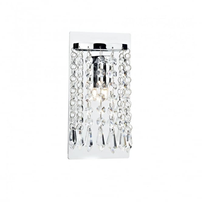 The Lighting Book TIARA curved wall panel light, chrome with crystal beads
