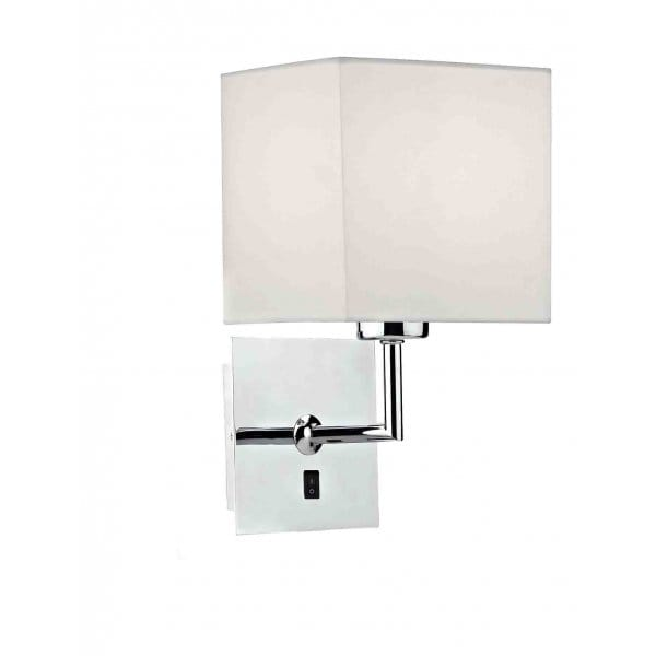 Modern Polished Chrome Wall Light with Shade, Individually Switched.