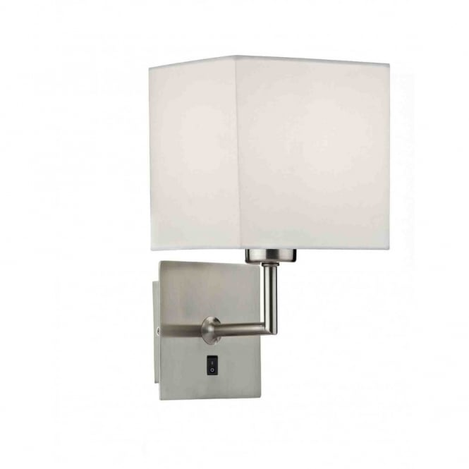 The Lighting Book TIBET contemporary satin chrome wall light with shade