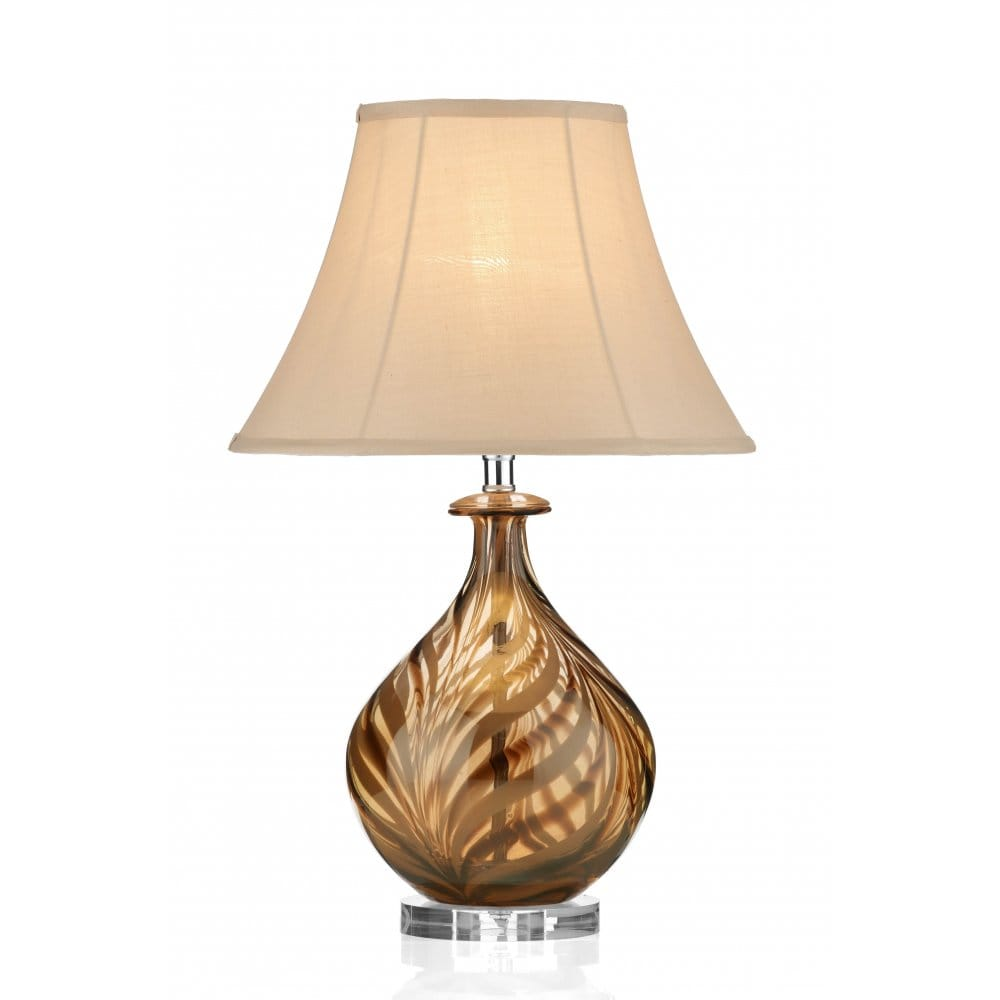 Tiger Striped Glass Table Lamp And Cream Panelled Shade