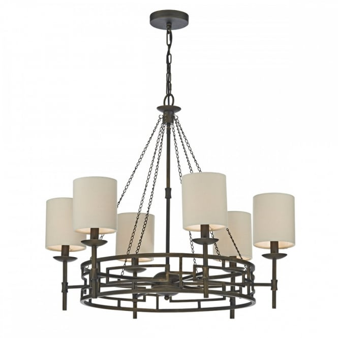 The Lighting Book TODD rustic 6 light ceiling pendant chandelier in bronze with taupe linen shades