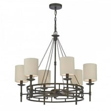TODD rustic 6 light ceiling pendant chandelier in bronze with taupe linen shades
