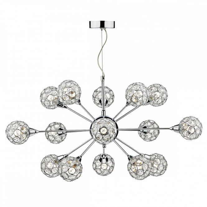 The Lighting Book TOGA decorative 15 light polished chrome & crystal glass ceiling pendant