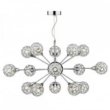 Lighting for a high ceiling feature light fitting crystal and chrome.