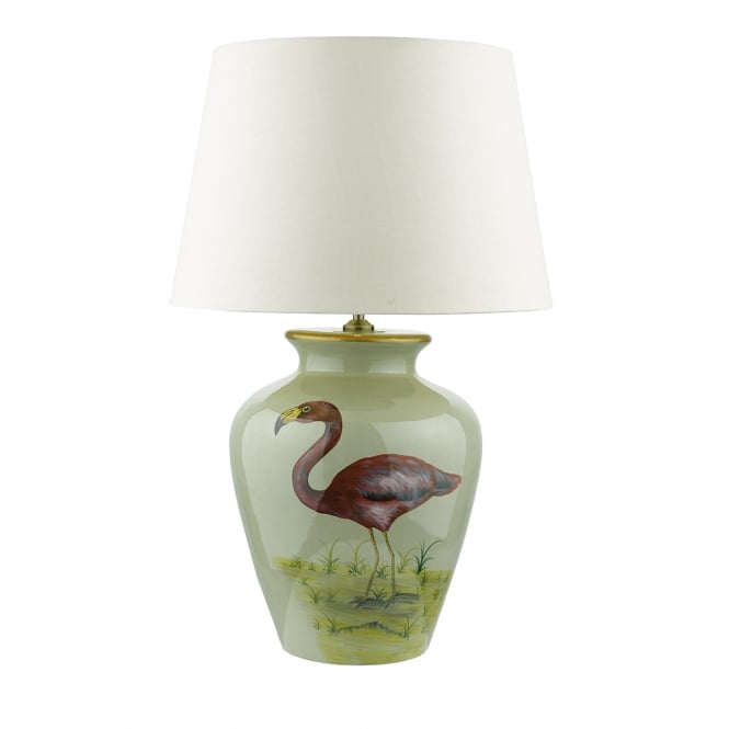 TOPEKA flamingo pattern ceramic table lamp with shade