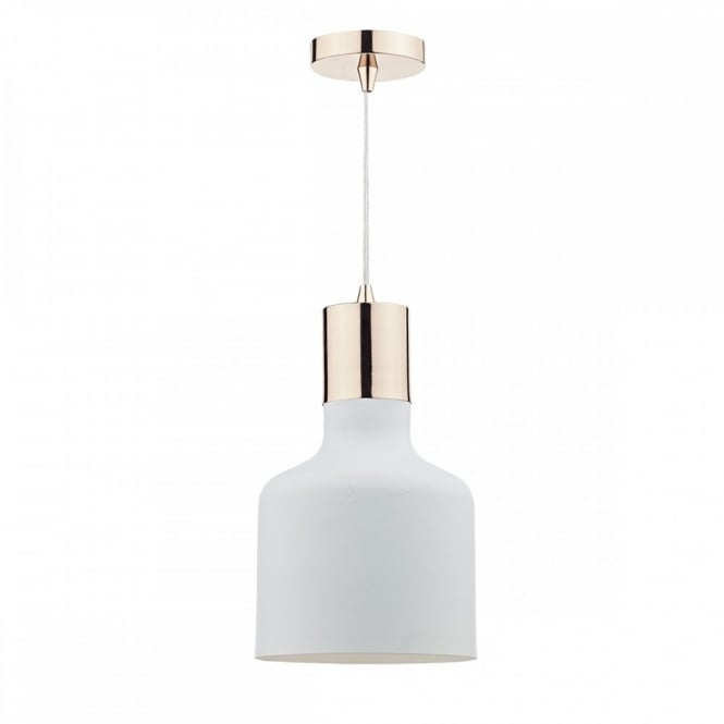 The Lighting Book TOTO contemporary single ceiling pendant in matt white and copper finish