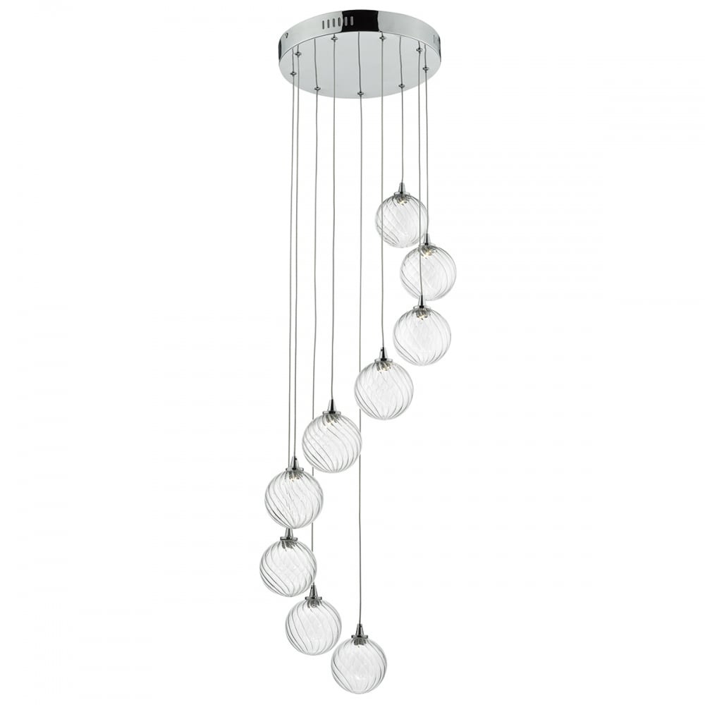 Contemporary Polished Chrome Spiral Cluster Pendant With