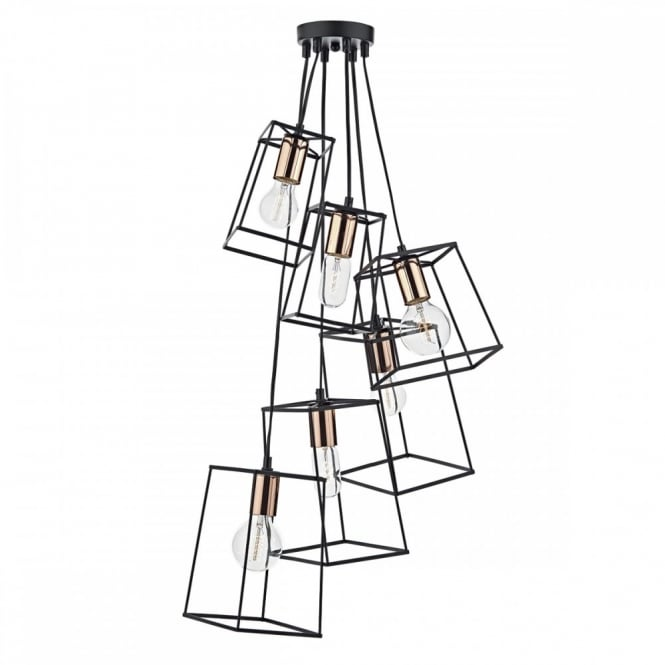 The Lighting Book TOWER 6lt matt black block frame cluster pendant