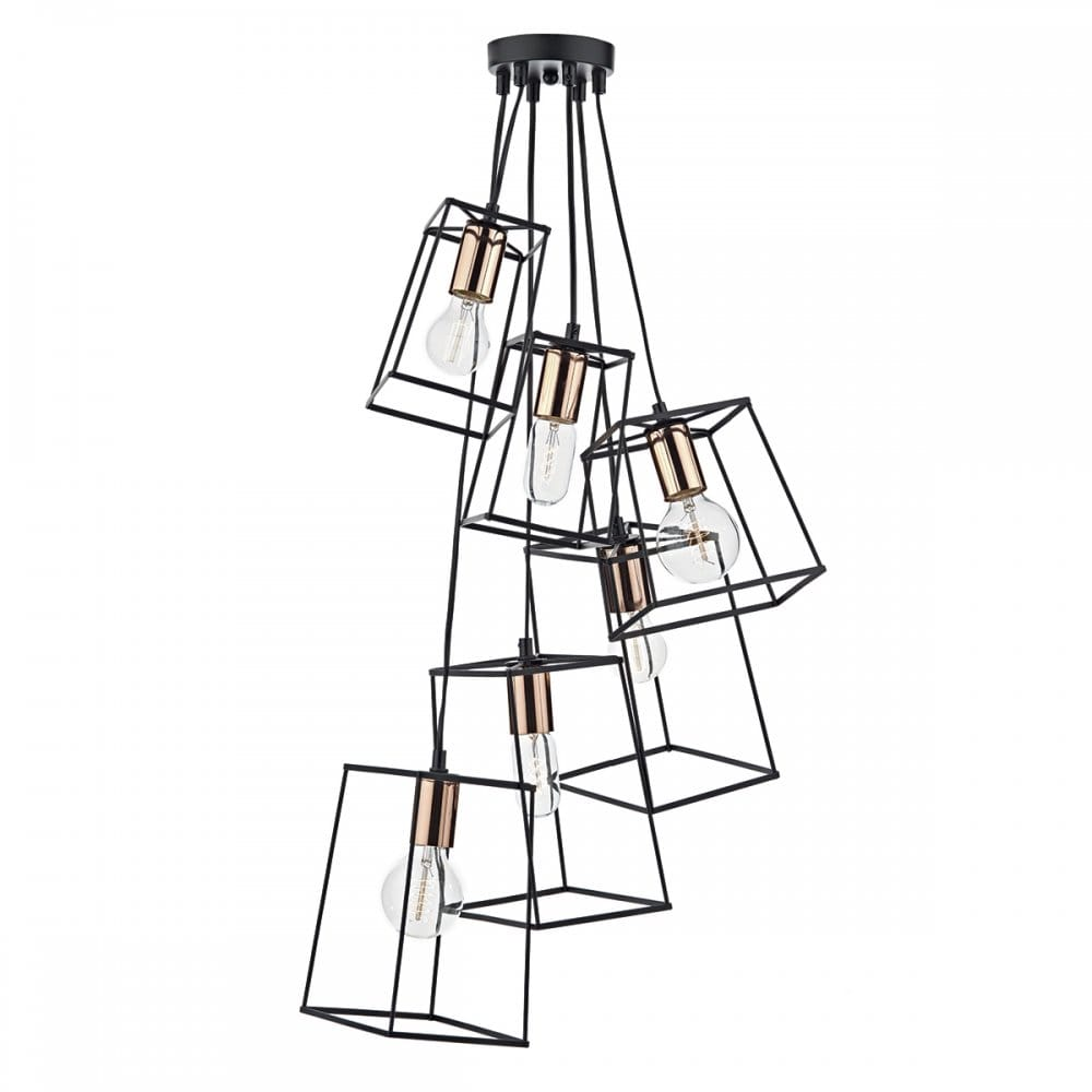 Contemporary Matt Black Block Frame Cluster Pendant