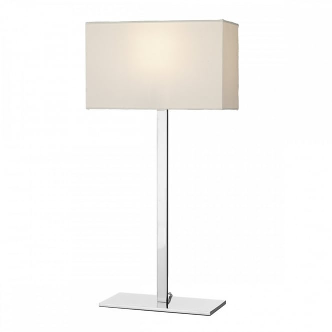 Modern Polished Chrome Squared Hotel Style Table Lamp with Shade