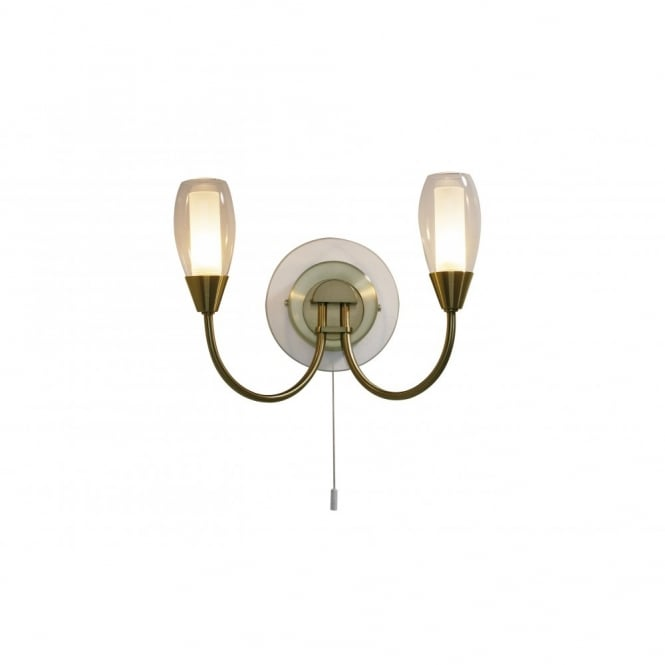 Vintage Wall Lights Double : Buy Double Wall Lights with Switch. Tugel Antique Brass Side Light with Pull Cord.