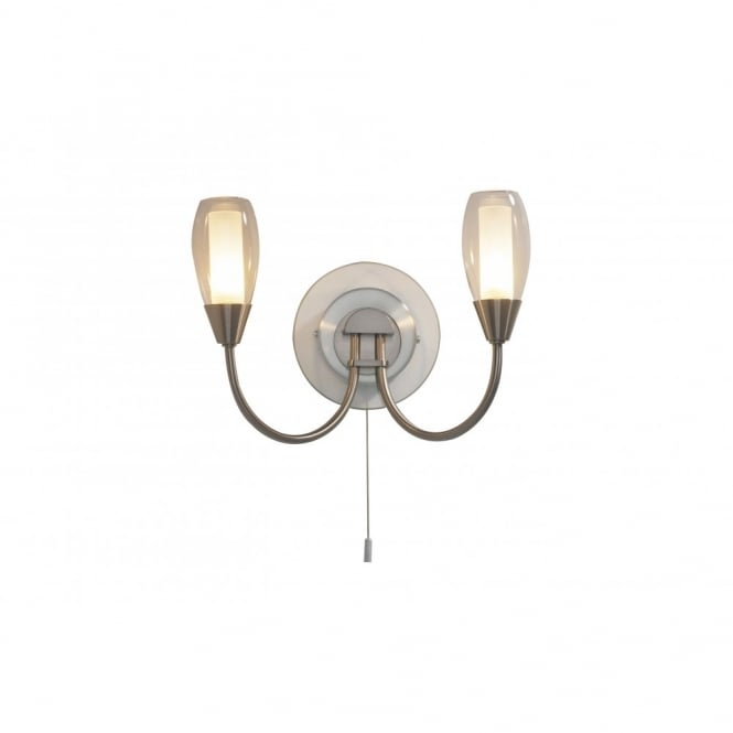The Lighting Book TUGEL double wall light in satin chrome & glass