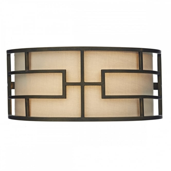 The Lighting Book TUMOLA geometric matt bronze wall light with taupe linen inner shade