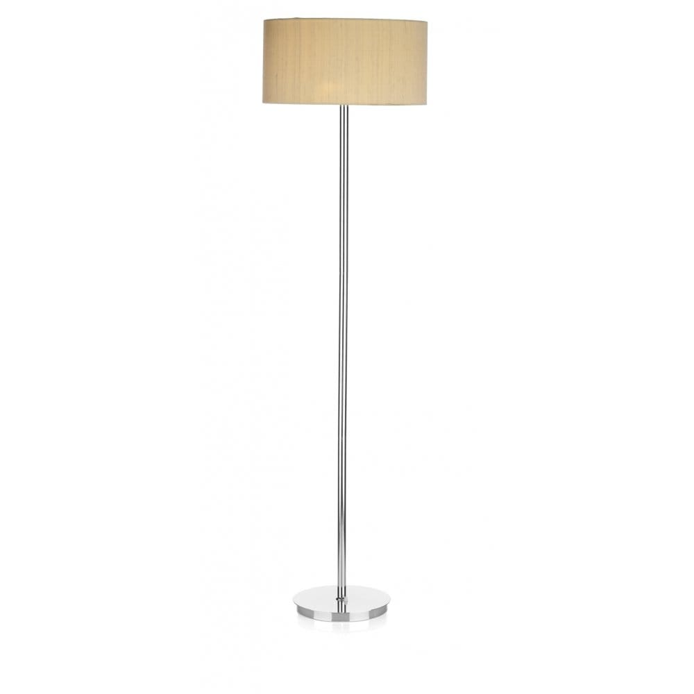 Modern chrome floor standard lamp with sea mist gold silk for Hadley chrome floor lamp