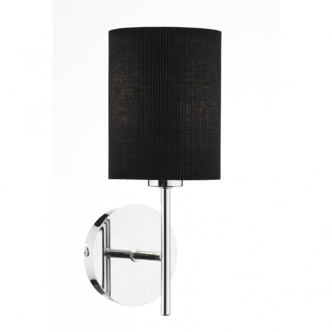 The Lighting Book TUSCAN wall light with black ribbed shade