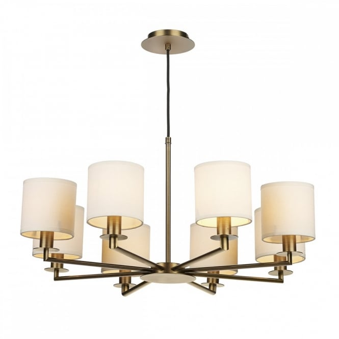 The Lighting Book TYLER 8 light ceiling light fitting bronze complete with shades. Hotel style Lighting