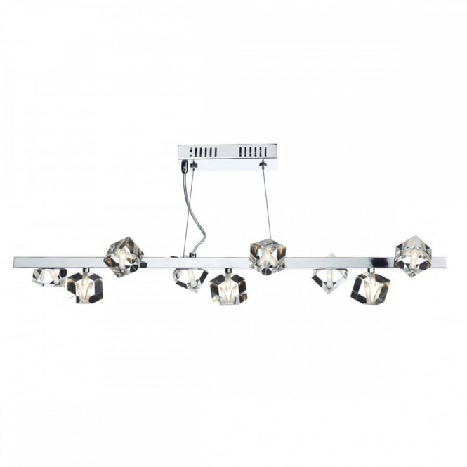 UNION 9 light modern ceiling bar pendant in chrome with crystal cube shades