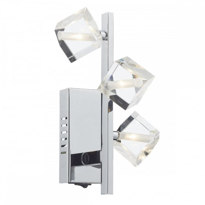 The Lighting Book UNION modern 3 light wall light in chrome with crystal glass cube shades