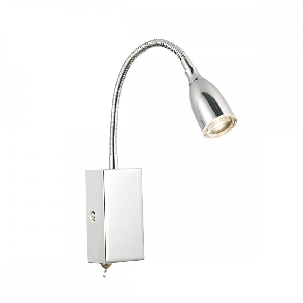 Modern Flexible LED Wall Light in Polished Chrome, Switched