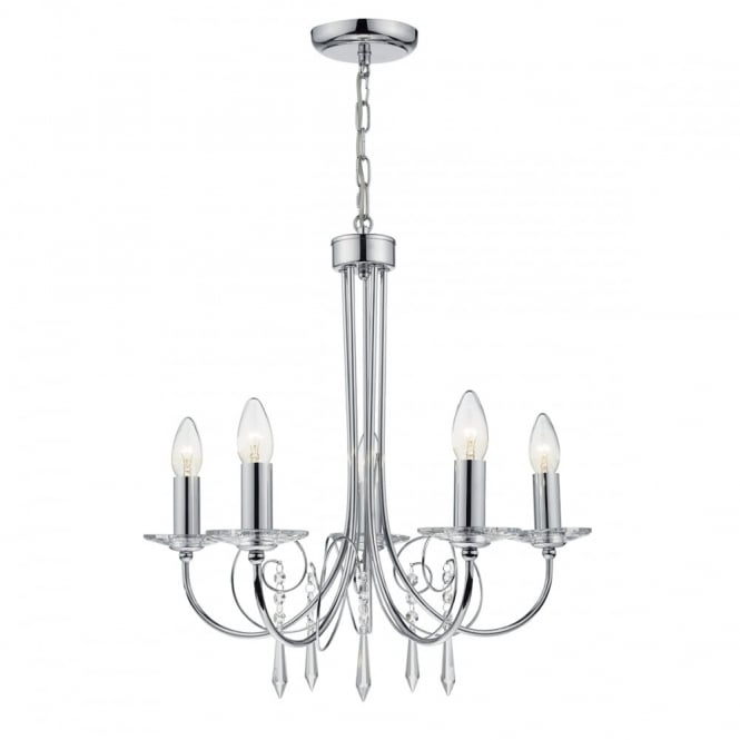 The Lighting Book VARINA 5 light polished chrome and crystal glass ceiling pendant