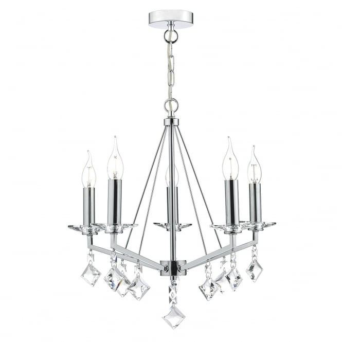 The Lighting Book VEVEY 5 light polished chrome and crystal droplet ceiling pendant