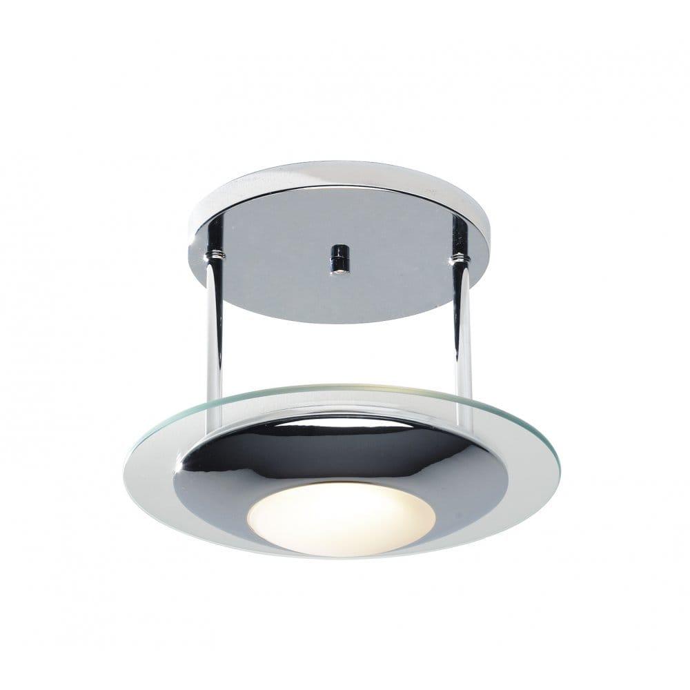 Via Contemporary Semi Flush Chrome Ceiling Light for Low Ceilings