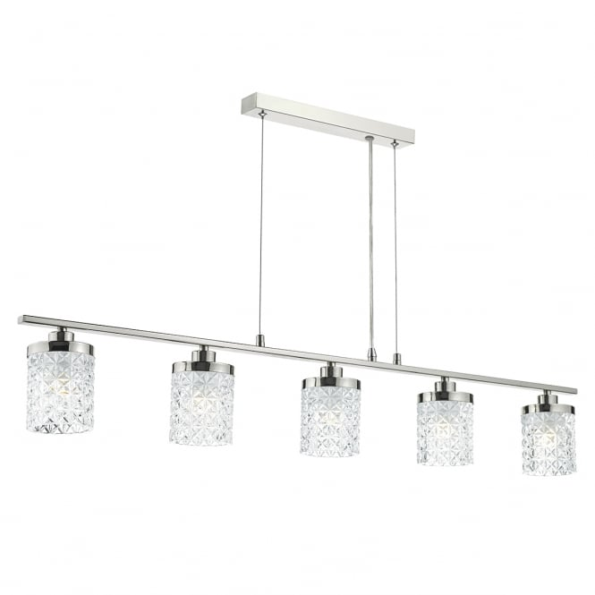 The Lighting Book VICTORIA polished nickel 5 light ceiling bar pendant with glass shades