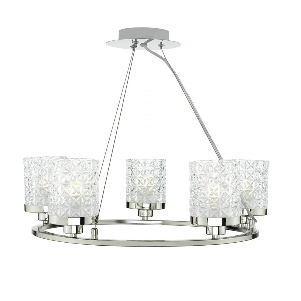 Polished Nickel And Clear Cut Glass Style Shade 5 Light