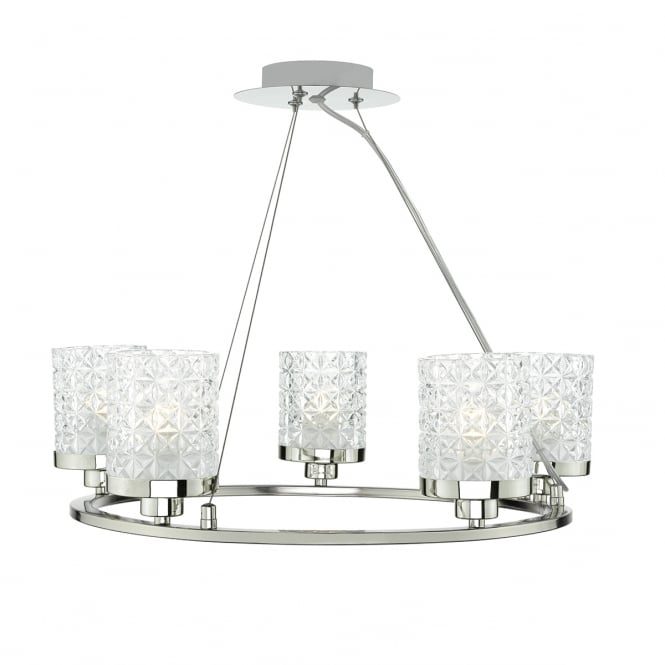 The Lighting Book VICTORIA polished nickel 5 light ceiling pendant with glass shades