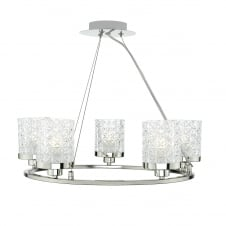 VICTORIA polished nickel 5 light ceiling pendant with glass shades