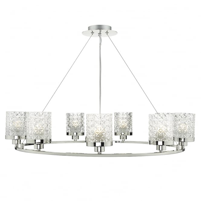 VICTORIA polished nickel 9 light pendant with cut glass style shades