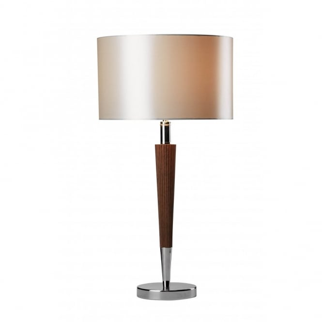 Viking Modern Chrome and Wood Effect Table Lamp with Shade