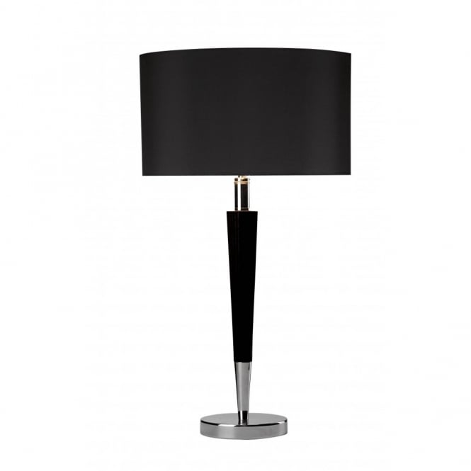 Viking Modern Chrome Table Lamp and Black Shade
