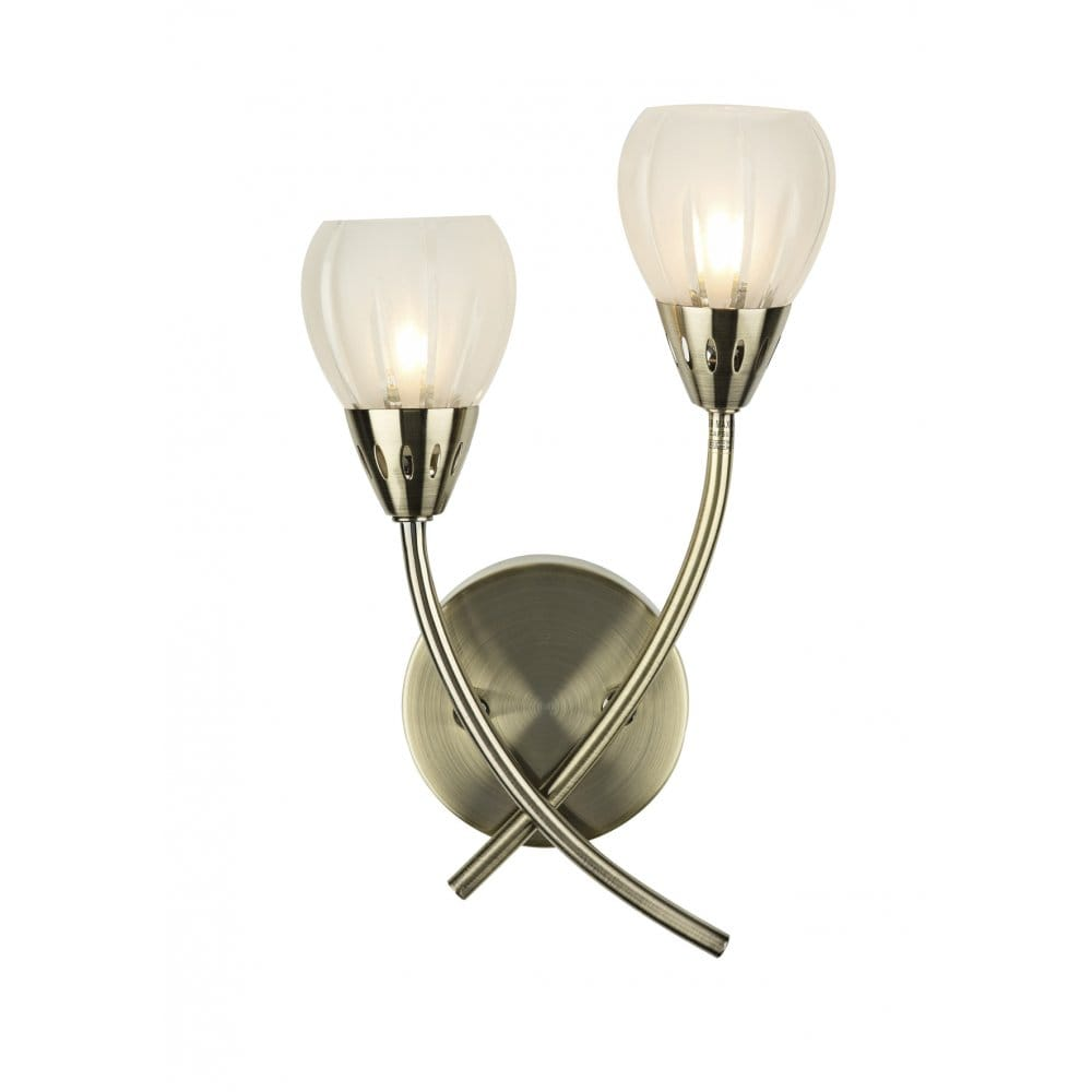Brass Wall Lights With Shades : Double Insulated Antique Brass Wall Light with 2 Glass Shades