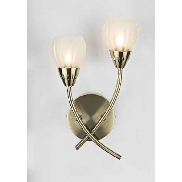 Double Insulated Crystal Wall Lights : Double Insulated Antique Brass Wall Light with 2 Glass Shades