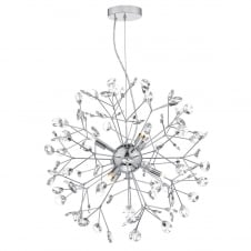 decorative sputnik pendant in chrome and crystal